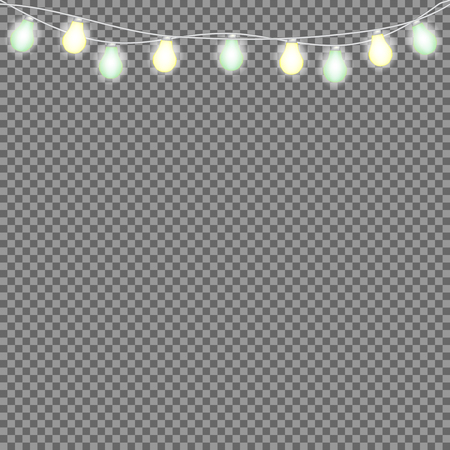 Set of overlapping, glowing string lights. Christmas glowing lights. Garlands, Christmas decorations. Vettoriali