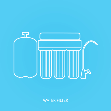 Reverse osmosis outline isolated vector icon. Water filter icon. Drink and home water purification filters. Tap filtration system.  イラスト・ベクター素材