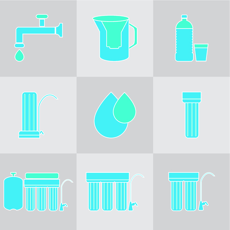 Water filter icon set. Drink and home water purification filters. Different tap filtration systems for water treatment. Outline vector icon set. Point of use water filters.