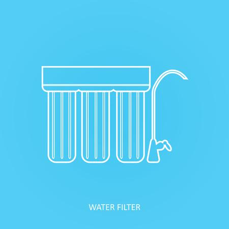 Icône de filtre à eau. Boisson et purification de l'eau à domicile sous le filtre de l'évier. Système de filtration du robinet. Icône de vecteur de contour. Filtre à eau au point d'utilisation. Vecteurs