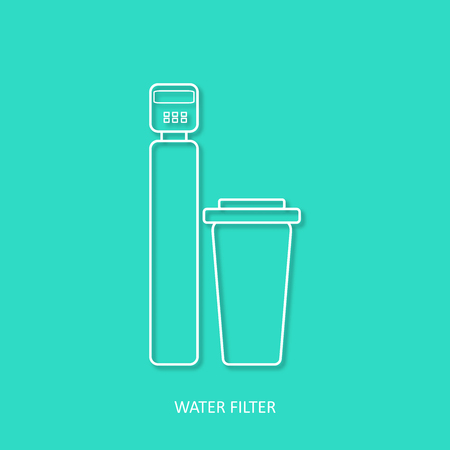 Water filter simple outline vector icon. Drink and home water purification filters. Water softener filter vector icon Isolated design element in trendy paper art 3d style. Imagens - 99406381