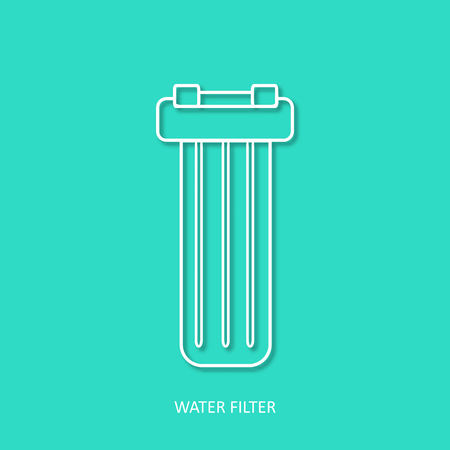 Water filter simple outline vector icon. Isolated design element in trendy paper art 3d style. In line water filter. Drink and home water purification filters.