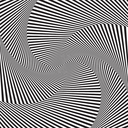 Optical art. Optical illusion background. Modern geometric background. Monochrome vector pattern. Design for wallpaper, wrapping, fabric, background, backdrops, prints, banners. Ilustração