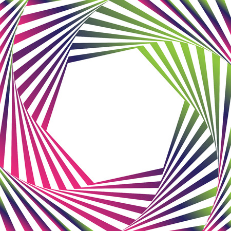Optical illusion vector frame. Dynamic gradient frame stylish geometric background. Element for design business cards, invitations, gift cards, flyers, brochures. Optical art with enpty space.