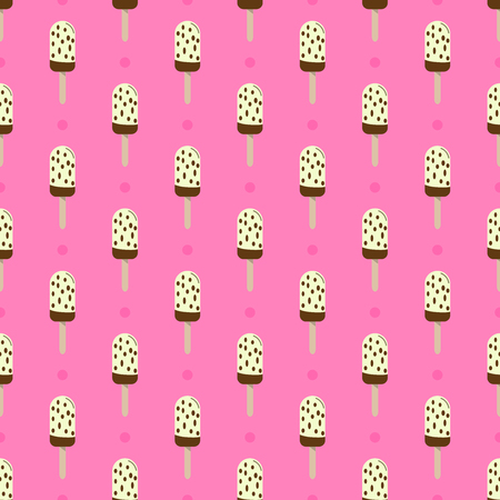Ice cream or popsicle seamless retro vector pattern decorated with polka dots. Colorful summer desert - fruit ice lolly. Design for wallpaper, wrapping, fabric, background, apparel, prints, banners. Standard-Bild - 104299781