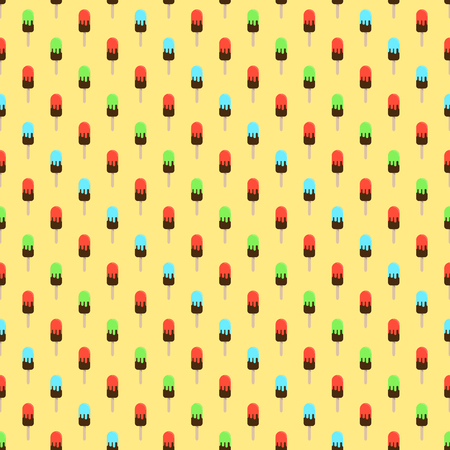 Ice cream or popsicle seamless retro vector pattern. Colorful summer desert - fruit ice lolly. Design for wallpaper, wrapping, fabric, background, apparel, prints, banners. Standard-Bild - 104299784