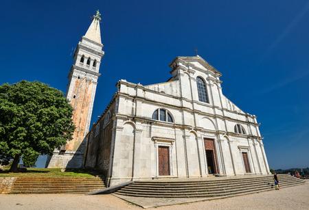 Rovinj, Croatia - May 22, 2018: St. Euphemia's Basilica, Rovinj, Croatia. Аn ancient church with a bell tower.