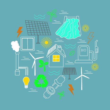 Eco related print. Contains symbols for different types of electricity generation: wind generators, solar panels, biofuel, hydropower, thermal energy. Alternative energy concept.