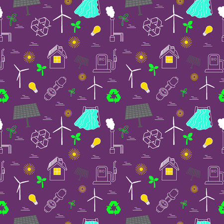 Eco related seamless print.  Contains symbols for different types of electricity generation: wind generators, solar panels, biofuel, hydropower.  Alternative energy concept. Archivio Fotografico - 105355867