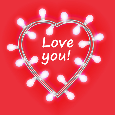 Love you. Garland in form of heart with glowing lights isolated on bright pink background. Vector design element for Holiday cards. Template or mock up. Illustration
