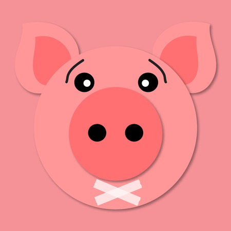 Pig muzzle close up. Funny and cute pig face in cartoon style. 3d paper art. Vector. Pig icon. Tape over lips Stock Illustratie