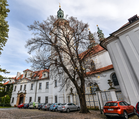 Prague, Czech Republic - October 10, 2017: Strahov Monastery is located in Strahov, Prague, Czech Republic and was founded in 1140 Editorial