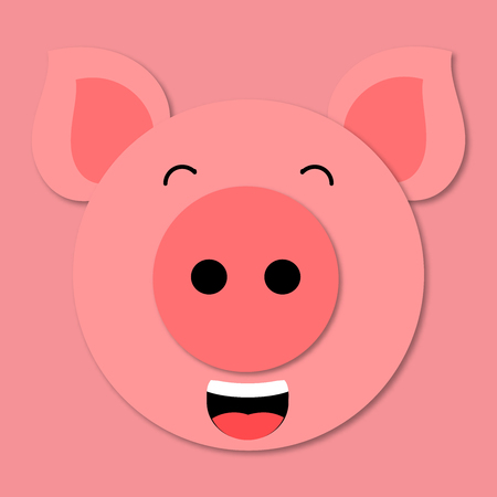 LOL emoji. Pig muzzle close up. Funny and cute pig face in cartoon style. 3d paper art. Vector. Pig icon. Standard-Bild - 110269206