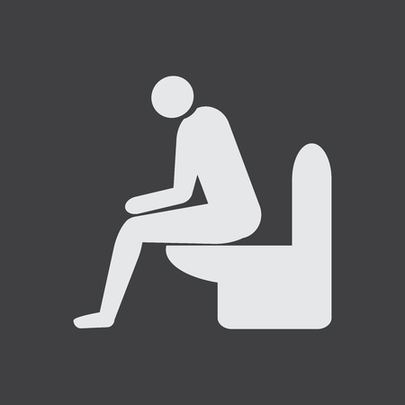 Diarrhea male vector icon. Man sitting on the toilet. Medicine or antibiotic side effect. Stock Illustratie
