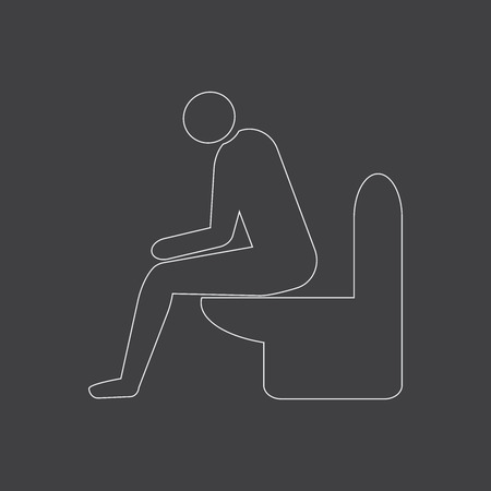 Diarrhea male outline vector icon. Man sitting on the toilet. Medicine or antibiotic side effect.