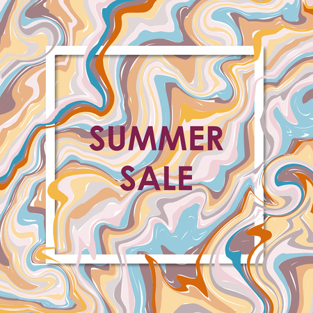 3d vector square frame. Paper cut promotion web banner for social media mobile apps. Summer sale. Blur marble background with abstract oil painted waves. Standard-Bild - 109616590