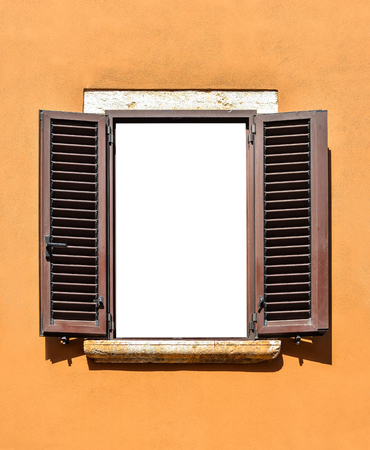 Opened wooden window isolated. Beautiful old window frame with brown wooden shutters and bright terracotta wall. Rural or antique window frame. Design element. Template or mock up. Standard-Bild - 109337804