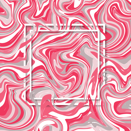 3d vector square frame. Paper cut web banner for social media or mobile apps. Sale and discount promo backgrounds with abstract pattern. Blur pink marble background with abstract oil painted waves. Standard-Bild - 109337807