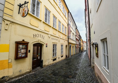 Prague, Czech Republic - October 10, 2017: Boutique Hotel Constans is located in the heart of historic and government district of Prague just a few steps from Charles Bridge, Prague Standard-Bild - 109600149