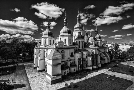 Kiev, Ukraine - September 22, 2018: Saint Sophia Cathedral in Kiev is an outstanding architectural monument of Kievan Rus. inscribed on the World Heritage List. Black and white Standard-Bild - 110720052