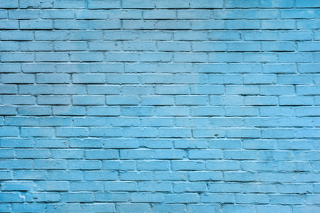 Light blue brick wall background. Texture of a brick wall. Modern wallpaper design for web or graphic art projects. Abstract background for business cards and covers. Template or mock up. Standard-Bild - 110698801