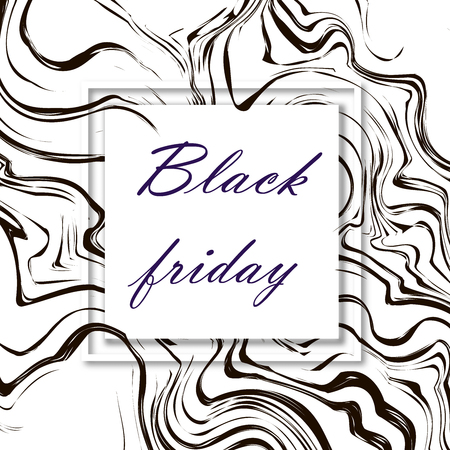 Black friday. 3d vector square frame. Paper cut web banner or poster. Sale backgrounds with abstract pattern. Blur black and white marble background with abstract oil painted waves. Standard-Bild - 110698803