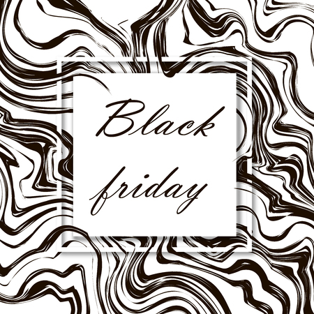 Black friday. 3d vector square frame. Paper cut web banner or poster. Sale backgrounds with abstract pattern. Blur black and white marble background with abstract oil painted waves. Standard-Bild - 110698804