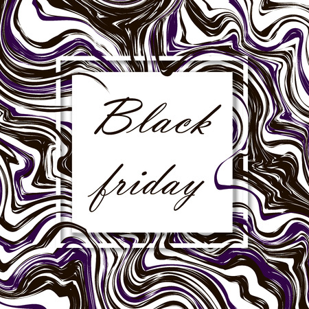 Black friday. 3d vector square frame. Paper cut web banner or poster. Sale backgrounds with abstract pattern. Blur black and white marble background with abstract oil painted waves. Standard-Bild - 110698805