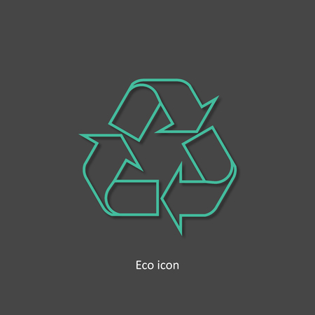 3d outline recycle icon. Isolated recycle design element in trendy paper art 3d style. Eco concept for print or info graphic. Recycle or reuse concept. Standard-Bild - 110801135