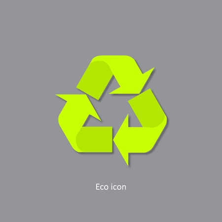 3d recycle icon. Isolated recycle design element in trendy paper art 3d style. Eco concept for print or info graphic. Recycle or reuse concept. Standard-Bild - 110801137