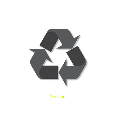 3d recycle icon. Isolated recycle design element in trendy paper art 3d style. Eco concept for print or info graphic. Recycle or reuse concept. Standard-Bild - 110801165