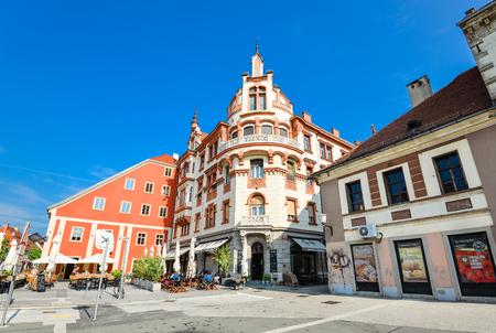 Maribor, Slovenia - May 20, 2018: Rotovz Town Hall Square in Maribor, Lower Styria, Slovenia Standard-Bild - 110937542
