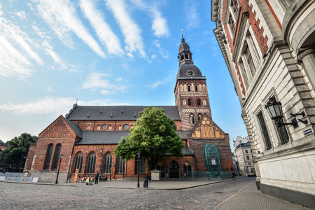 Riga, Latvia - August 22, 2017: View on Riga Cathedral or Dome Cathedral in daylight, Riga, Latvia. The Riga cathedral is one of the most recognizable landmarks in Latvia 에디토리얼