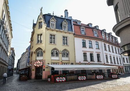 Riga, Latvia - August 23, 2017 : View on Fridays cafe in Riga city center, Litva