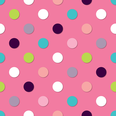 Polka dots colorfull seamless pattern. 3d vector background. Retro style print.