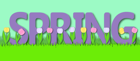 Spring background with grass and tulips. Paper art vector. 3d effect. Spring lettering