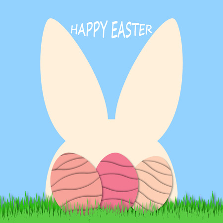 Happy Easter background with eggs and rabbit. Easter eggs and cute bunny in green grass. Festive decoration. 3D vector, paper cut style