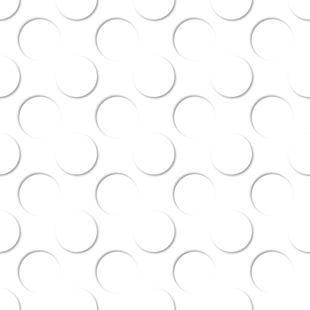 Polka dots seamless pattern. 3d vector white on white background.