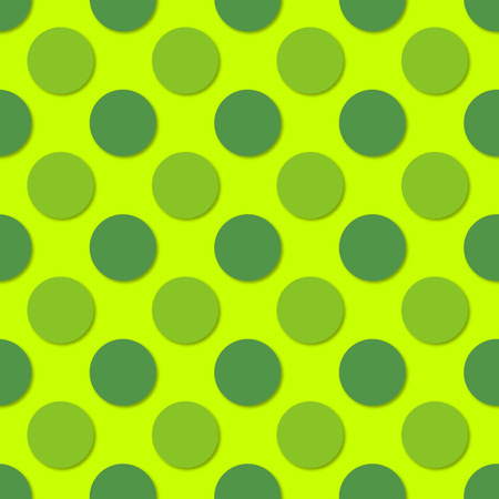Green Polka dots seamless pattern. 3d vector background. Retro style print. Illustration