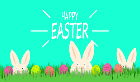 Happy Easter background with funny white rabbit and easter eggs. Easter cute bunny in green grass. Festive decoration.