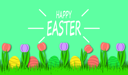Happy Easter background with colorful eggs and tulips in bright green grass. Festive decoration. 3D vector, paper art style Иллюстрация