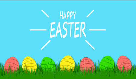 Happy Easter background with colorful eggs in bright green grass. Festive decoration. 3D vector, paper art style