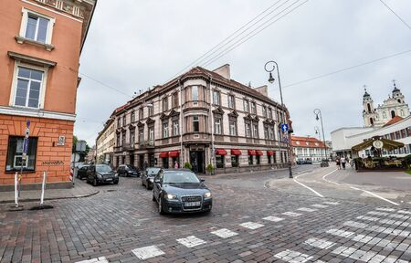 Vilnius, Lithuania - August 13, 2017: View on Old town streets in Vilnius, Lithuania
