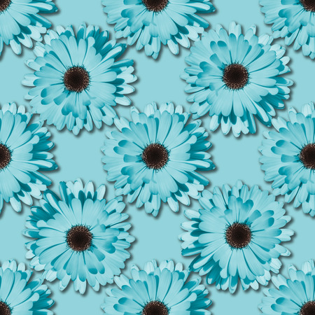 Blue Chamomile or gerbera seamless floral pattern. Summer flowers Фото со стока