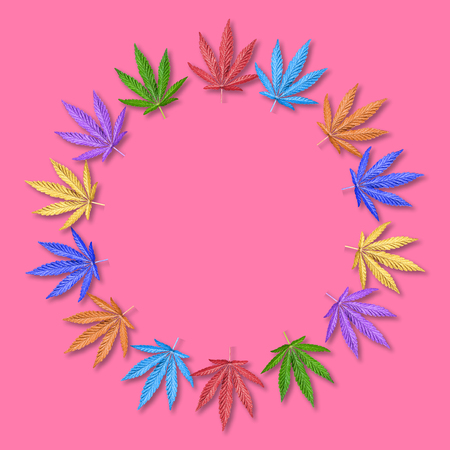 Colorful leaves of hemp or cannabis in round frame. Rainbow leaves frame on pink background. Mock up or template. Flatlay. Фото со стока