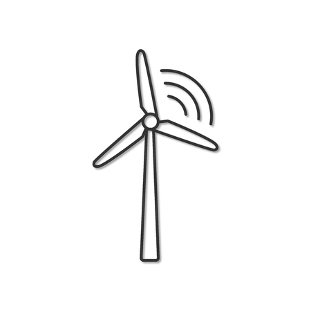 Wind generator vector simple eco related icon. Alternative renewable electricity generation. Isolated 3d windmill design symbol. Eco concept for infographic