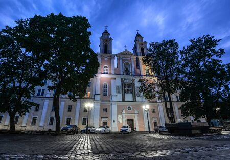 Kaunas, Lithuania - August 24, 2017: Night view on the Church of St. Francis Xavier is located in the Old Town of Kaunas, Lithuania.