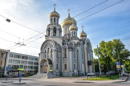 Vilnius, Lithuania - August 13, 2017: The Orthodox Church of St. Michael and St. Constantine is a Russian Orthodox church in Vilnius old town, Lithuania.