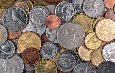 Euro coin backgroun. Money concept. Top view. Flat lay