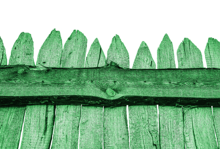 Green Wooden Fence isolated on white. Old Panels. Template or mock up.